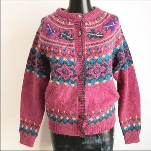 Vintage The Woolrich Woman Cardigan Sweater Leaves